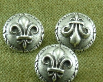 Antique Rome Roman French Fleur De Lis Antique Silver Buttons    C27