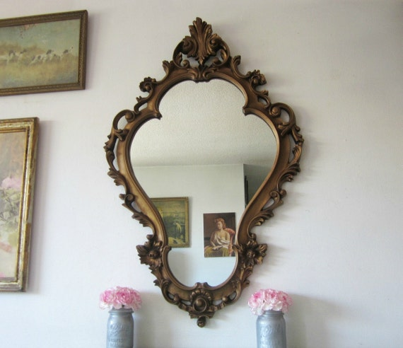 RESERVED for Kim H Large Vintage Ornate Baroque Wall Mirror
