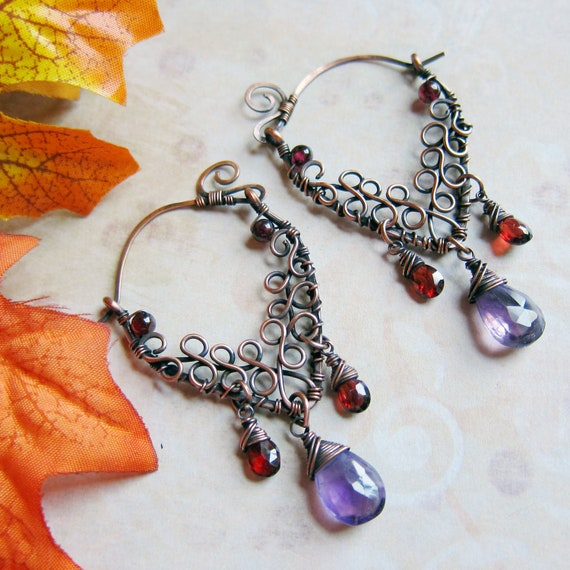 RESERVED - Eternal Autumnvale Earrings - Amethyst and Garnet Ornate Hoops