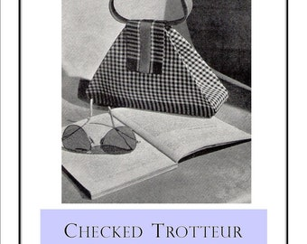 1940s Purse Bag Pattern Checked Trotteur Vintage Handbag Sewing Pattern Instructions PDF Digital Delivery