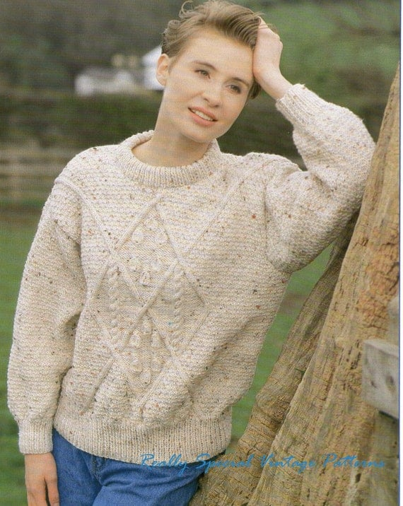 Vintage Aran Cardigan Knitting Pattern : Aran Sweater Vintage Knitting Pattern Original Pattern