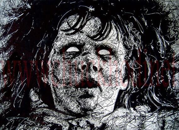 "Print 8x10"" - Regan MacNeil - Exorcist Horror Vintage Classic Dak Art Creepy Scary Priest Gothic Serial Killer Evil Devil Girl Surreal"