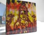 "Lakshmi Goddess of Abundance giclee on canvas on 4"" x 4"" wood block"