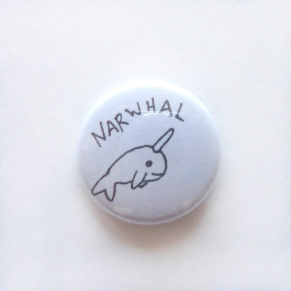 "Set of 3 Unique 1"" Buttons, with Handdrawn Narwhal"