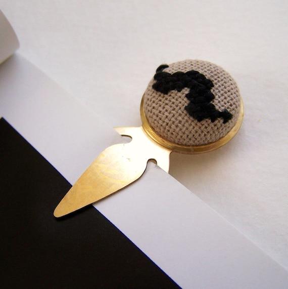 Bookstache Bookmark Mustache Black and Brass Cross Stiched