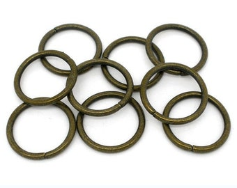 50pc 18mm large antique bronze jump rings-5787