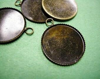 12pc 21mm Antique Bronze Round Gemstones Cameo Or Cab Victorian Pendant Setting-3245x2