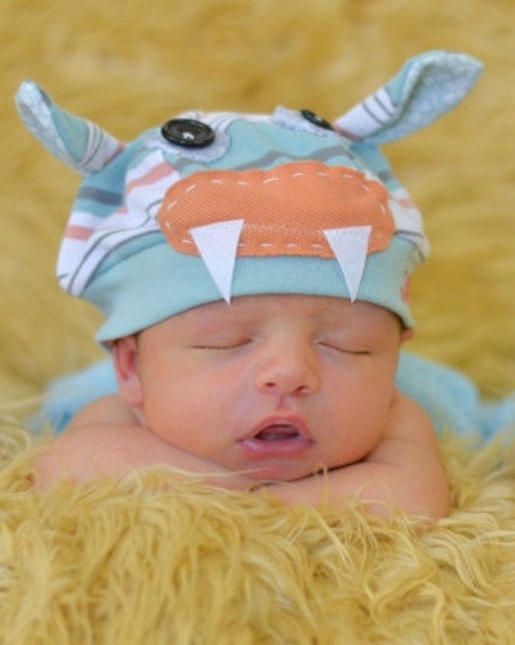 Infant Monster Jax Hat in blue and orange stripe- great for photography prop