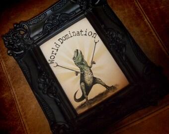 "Mighty T Rex Dino ""World Domination"" Art Print 5x7 By Agorables Tyrannosaurus Rex Dinosaur"