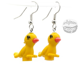 Dangle Drop Bird Earrings - made with LEGO bricks