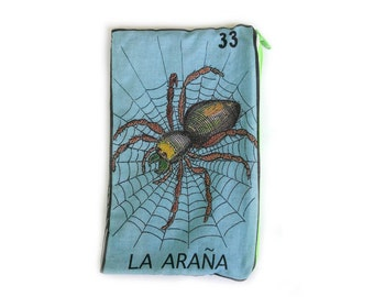 "La Araña ""The Spider"" Mexican Loteria Makeup Pouch"