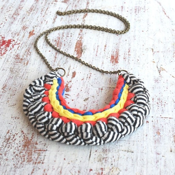 Striped, blue, coral and yellow cotton necklace