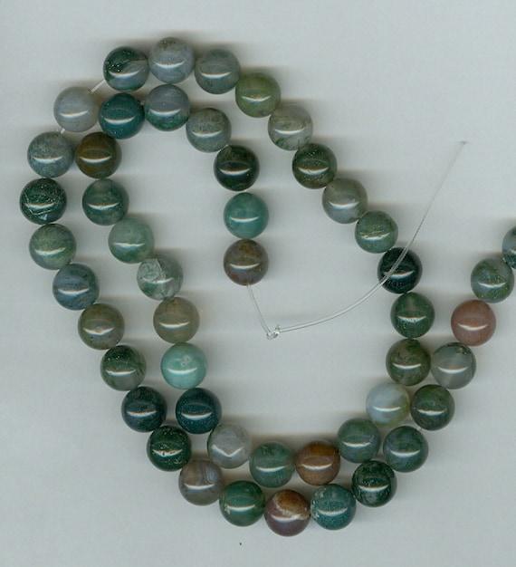 8mm Round Moss Agate Gemstone Beads - Full Strand