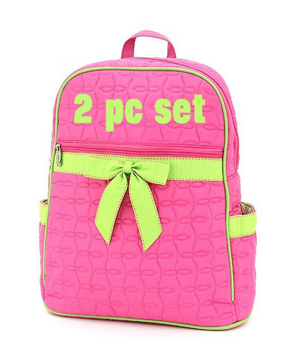 Pink and Lime Backpack & Lunch Bag Matching Set  for Ballet, Vacation, School, Diaper, Cheer or Gym Monogrammed or Personalized