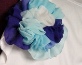 Silk ombre chiffon in white to royal blue