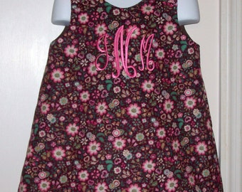 Brown Corduroy with Flowers Monogram A-line Dress starting at size 3 mo going up to 6X