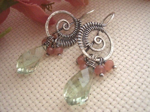 Reserved for Marci----Lil Woven Nautilus Earrings---Sterling/Prasiolite/Rhodochrosite