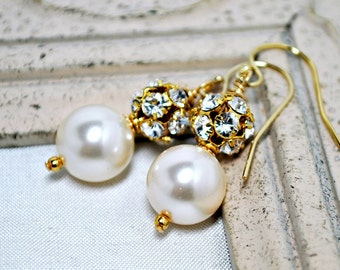 Gold Rhinestone Ball Bridal Earrings, Large Swarovski Pearl Wedding Earrings In Gold, Elegant Bridesmaids Earrings, Drop, Dangle