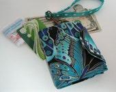 Women's Wristlet Wallet Shimmer Butterflies