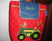 Personalized Stephen Joseph Signature Collection Quilted Back Pack Tractor by Never Felt Better