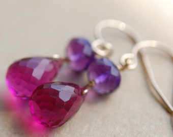 Earrings, Purple Amethyst Gemstone Hot Pink Quartz, 14K Gold Filled Ear Wires, Wire Wrapped Sangria