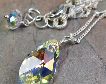 Bridal Necklace, AB Clear Crystal Swarovski Teardrop Faceted Solitaire Drop, 14K GOLD FILL Wire Wrapped, Adjustable