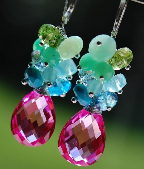Monet Earrings, AAA Pink Topaz, Chalcedony, Peridot, Peruvian Opal, Blue Topaz Gemstone Cascade Clusters, Sterling Silver Leverbacks