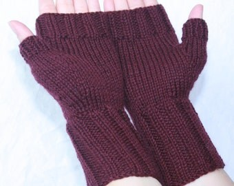 Wool Mittens, Fingerless Mittens with Thumb, Hand-knit by Janie, Women's Small-Medium, Currant