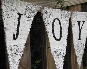 JOYEUX NOEL....GLITTERED Burlap Banner Pennant Bunting