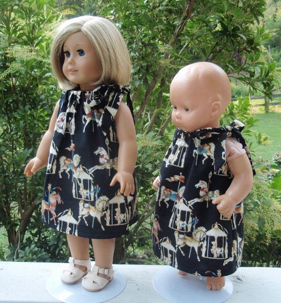 American Girl Doll Clothes Carousel Horses Pillowcase Dress