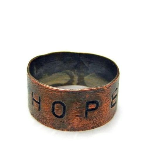 Copper Handmade Stamped Ring HOPE