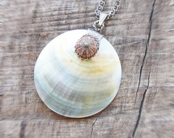 Sea Urchin and Seashell Necklace Coastal Love