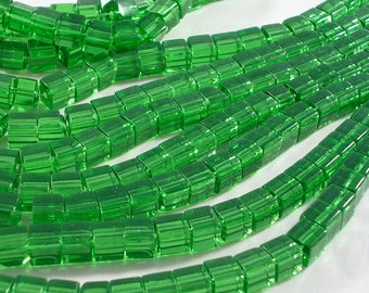 SALE 6mm Green Glass Cube Beads (GB118)