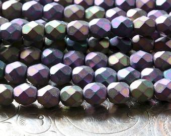 Czech glass bead strand 6mm Matte Iris Purple faceted fire polish beads Lori Lochner (25 beads)