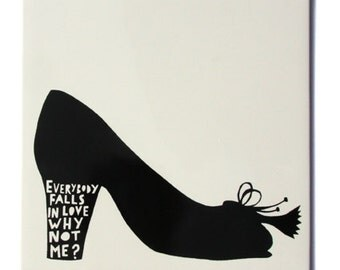 Everybody Falls in Love... ceramic tile Black