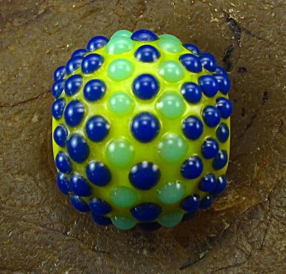 Handmade Lampwork Glass Focal Bead -Blue & Green Dots- by Jason Powers SRA