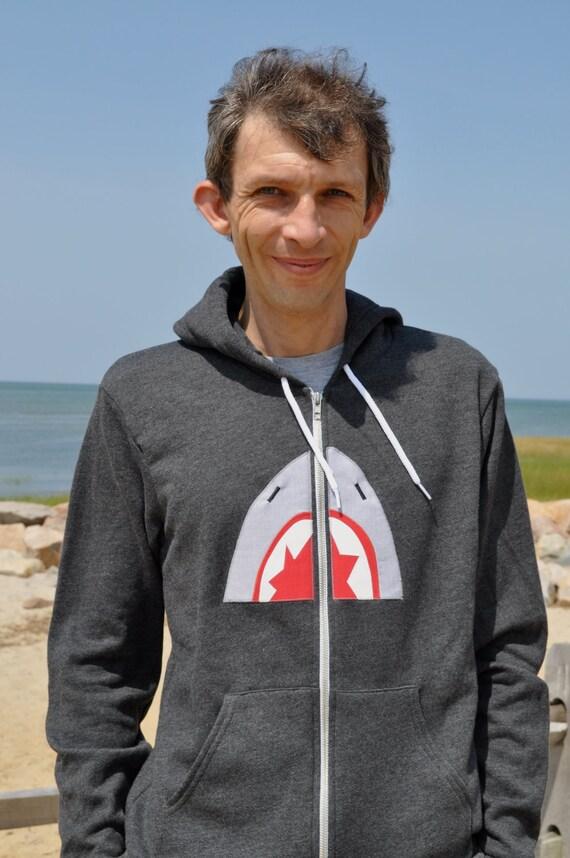 Mens Unisex Shark Hoodie sweatshirt by American Apparel