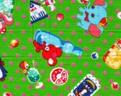 HALF YARD - Animal, Candy and Soda Drink - Pink Polka Dots on Lime Green - Elephant, Squirrel, Bunny, Deer, Penguin, Bear - Japanese Fabric