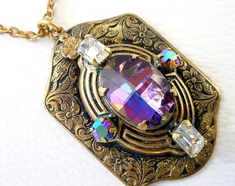 Purple Glass Brass Necklace - Vintage Pendant with Rhinestones