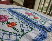 Clearance Sale - Vintage Linens - Dressers Scarfs and Linen Towel - Embroidery and Cross Stitch - Flowers and Couple
