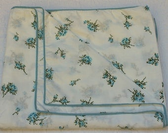 New Vintage Duvet Cover - Cotton - Blue Roses  - New Twin Full Queen