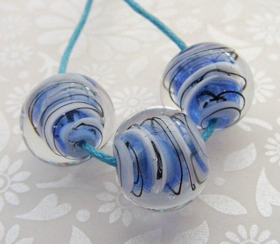 Lampwork Glass Beads Ocean Blue Comic Scribbles