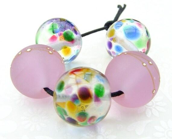Lampwork Glass Beads Rainbow Rose