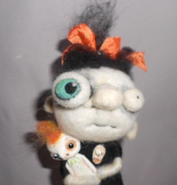 Zelda the Zombie Ooak needle felted art doll