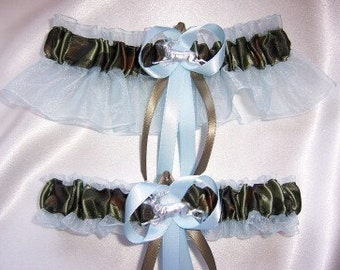 LIGHT BLUE and CAMOUFLAGE Wedding Garter Set