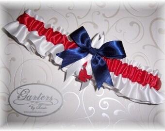 Boston Red Sox Wedding Garter with charm   Handmade   Toss Satin w-rnw