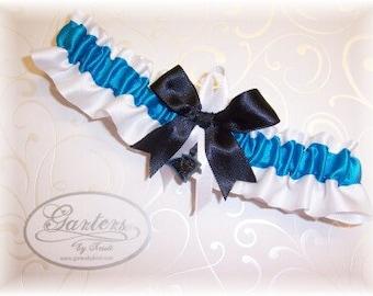 Carolina Panthers Wedding Garter with charm Toss Satin    Handmade    W-TBW