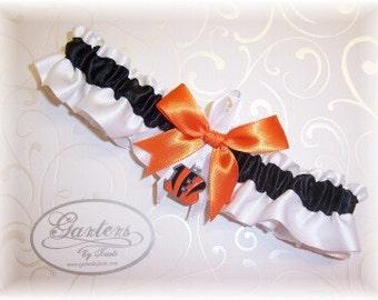 Cincinnati Bengals Wedding Garter with charm   Handmade    Toss  Satin W-BOW