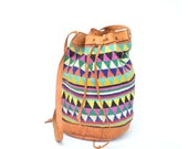 vintage colorful woven cotton TRIANGLES and leather bucket bag