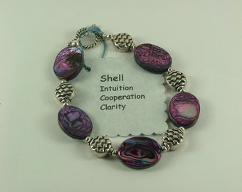 Sterling Silver and Shell Bracelet-B7